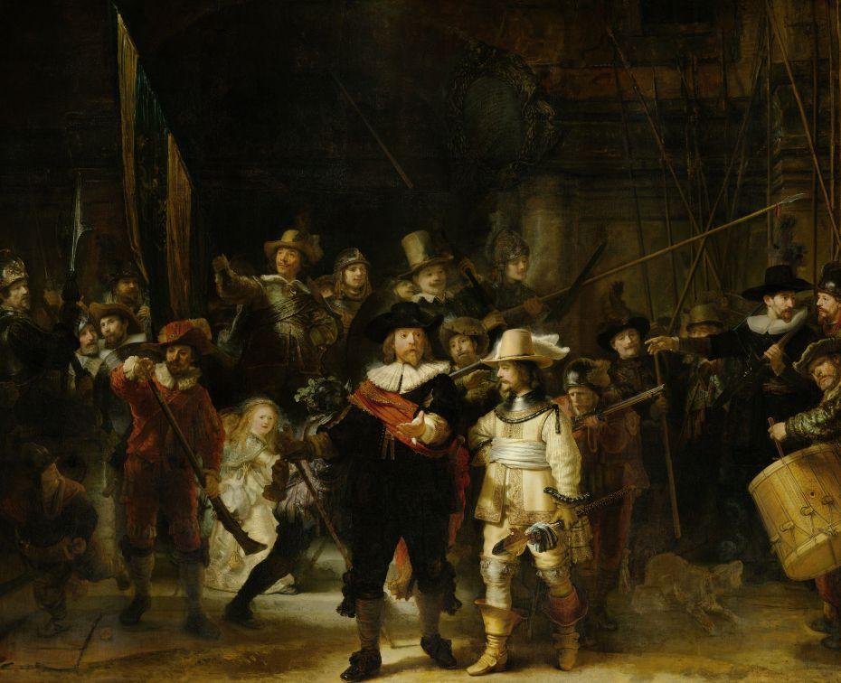 Die Nachtwache WANDBILD farbecht 3D-Effekt DEKO BILD Acrylglasbild Rembrandt