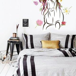 Muursticker - Paard met bloemen