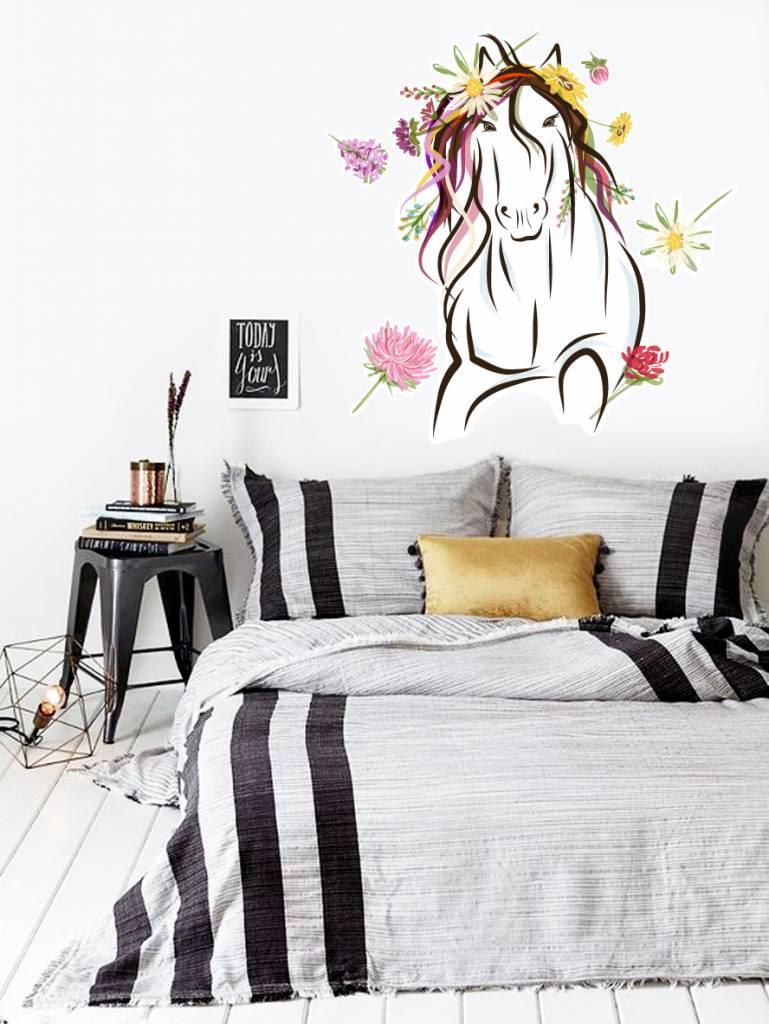 Paarden Sticker Muur.Muursticker Paard Met Bloemen Walldesign56 Com