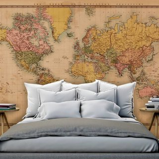 Self-adhesive photo wallpaper custom size - World Map Vintage 2 - Sepia