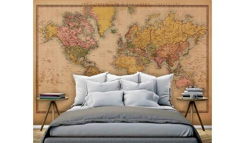 Self-adhesive photo wallpaper custom size - World Map Vintage 2 - Sepia