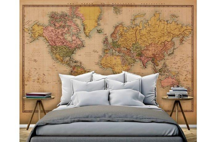 Walldesign56 Zelfklevend fotobehang op maat - Wereldkaart Vintage 2 - Sepia
