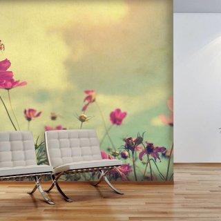 Selbstklebende Fototapete angepasst - Blumen Weinlese