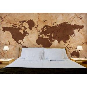 Mural Weltkarte Vintage Brown