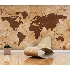 Mural World Map Vintage Brown