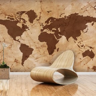 Self-adhesive photo wallpaper custom size - World Map Vintage Brown