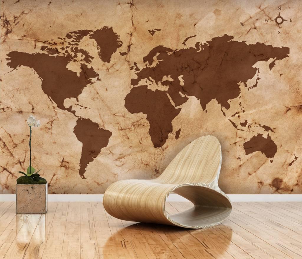 Mural World Map Vintage Brown Walldesign56 Wall Decals Murals