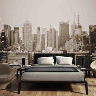 Selbstklebende Fototapete angepasst - Manhattan Skyline schwarz und weiß