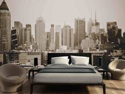 Fotobehang Skyline Manhattan zwart wit