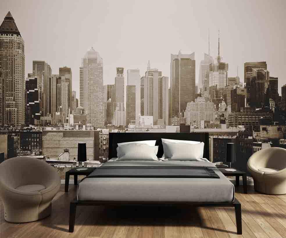Fotobehang Zwart Wit.Fotobehang Skyline Manhattan Zwart Wit