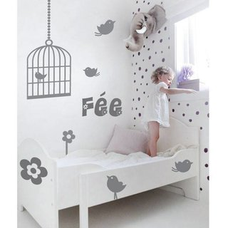 Wall Sticker - Birds and bird cage with your own name