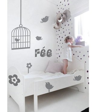 Wall Sticker Birds Birdcage