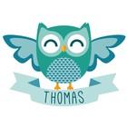 Geburt Aufkleber Owl Boy