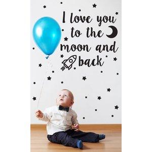 Muursticker I love you to the moon kids