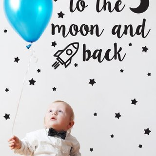 Muursticker - I love you to the moon - Kids