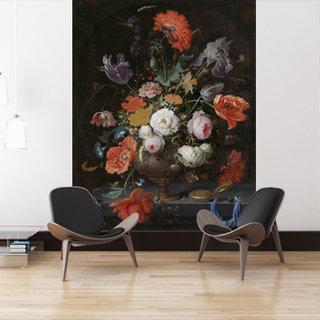 Selbstklebende Fototapete angepasst - Stillleben mit Blumen und eine Uhr - Abraham Mignon