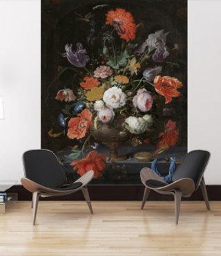 Fotobehang Stilleven met bloemen en een horloge