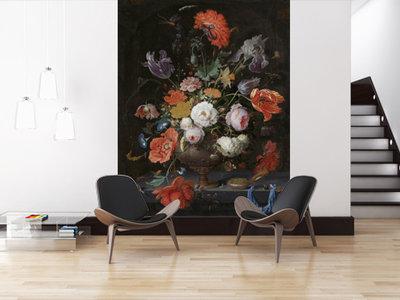 Mural Stillleben mit Blumen und eine Uhr