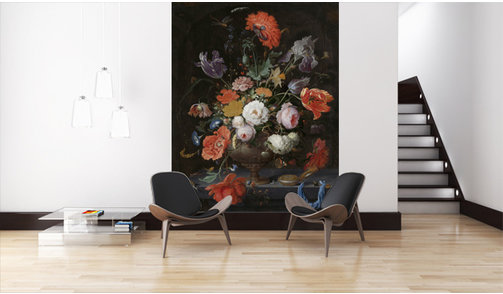 Mural Still Life with Flowers and a watch