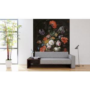 Fotobehang Stilleven met bloemen en een horloge - Abraham Mignon