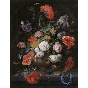 Mural Still Life with Flowers and a watch - Abraham Mignon