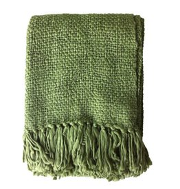 Dark jungle green throw