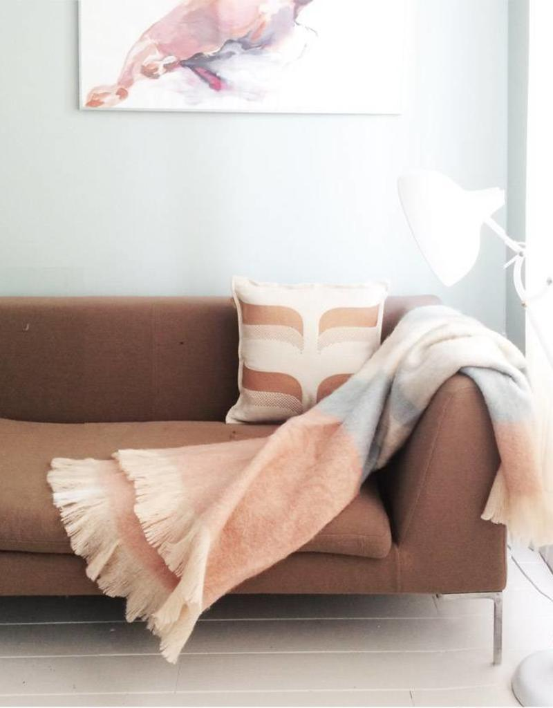 Peach pink mohair throw