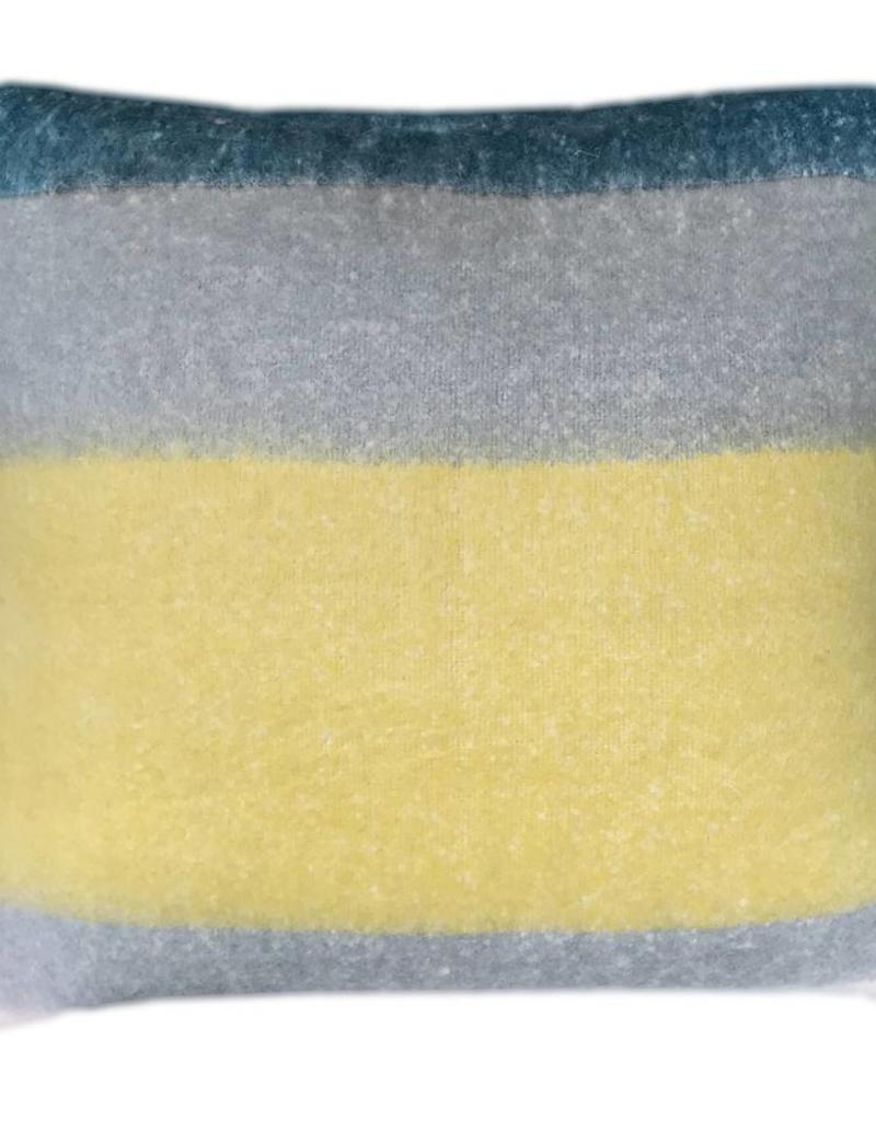 Dark lead blue mohair cushion