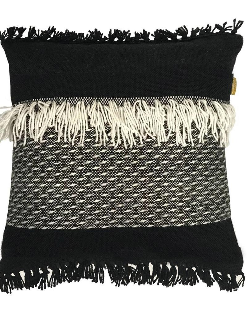 Black 'n white fringe cushion