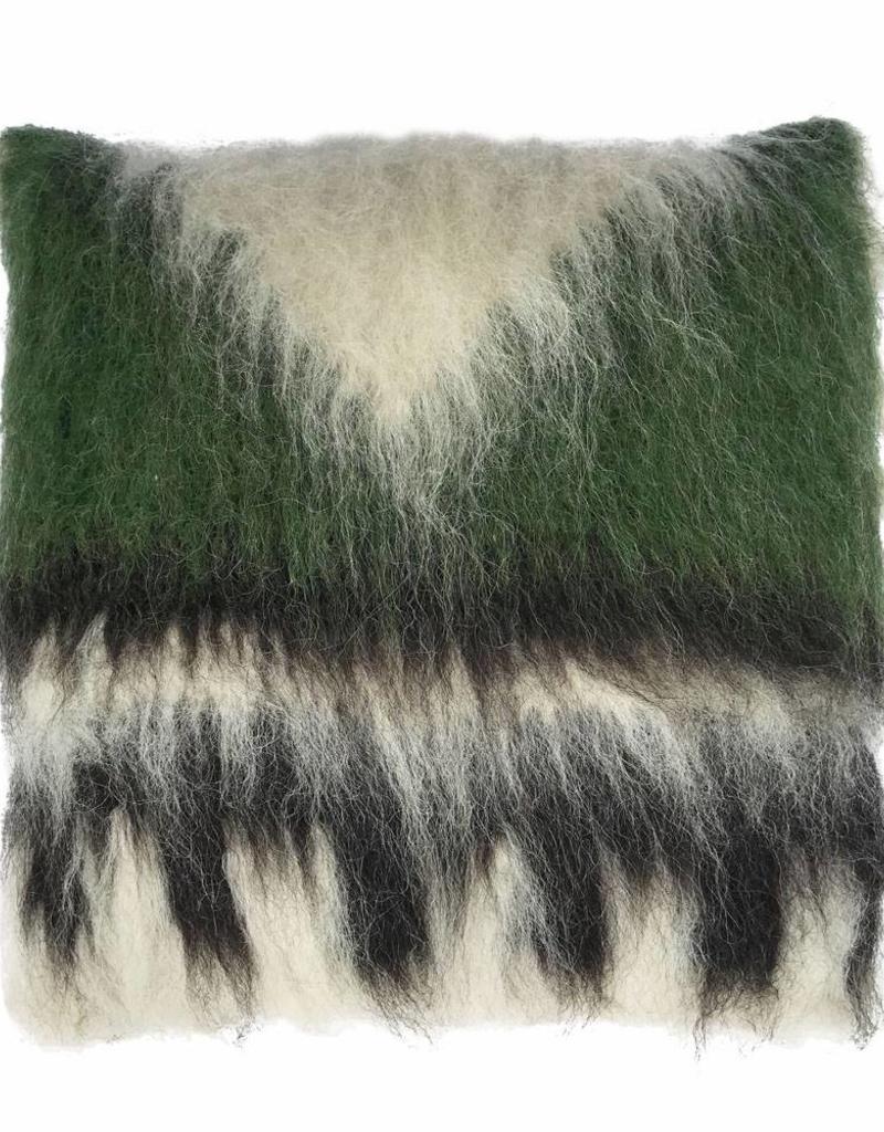 Cushion 100% wool triangle green 50x50