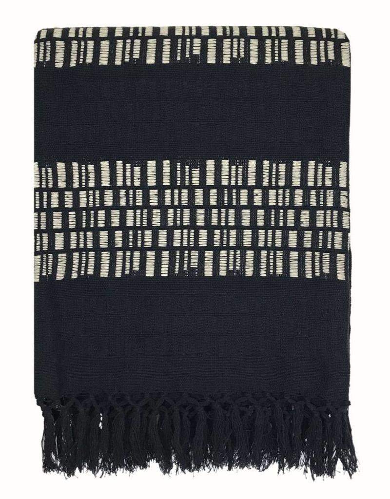 Bark stripe cotton black throw