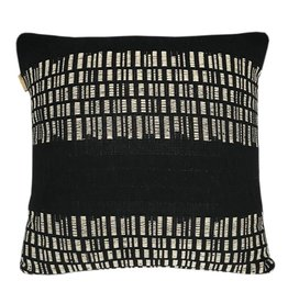Bark stripe cotton black cushion