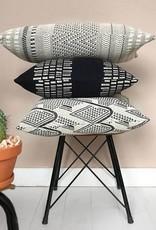 Bark stripe cotton black cushion