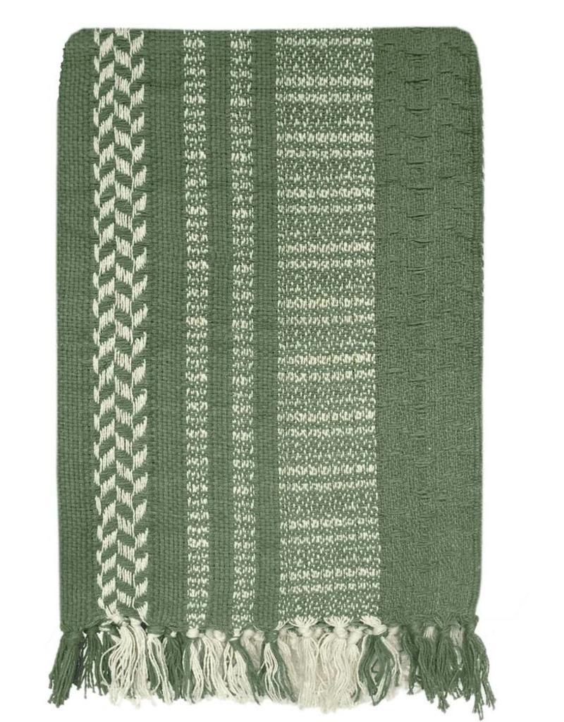 Cheyenne stripe faded green throw (NEW)