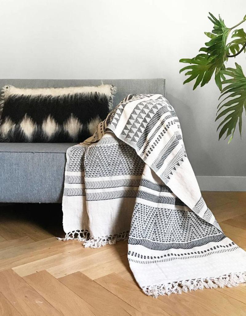 Native stripe cotton offwhite throw 135x220cm