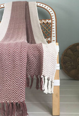 Teepee stone pink throw