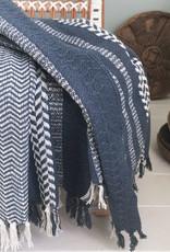 Cheyenne stripe dark blue throw (NEW)
