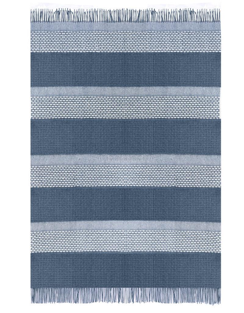Rustic basket stripe throw blue (NEW)