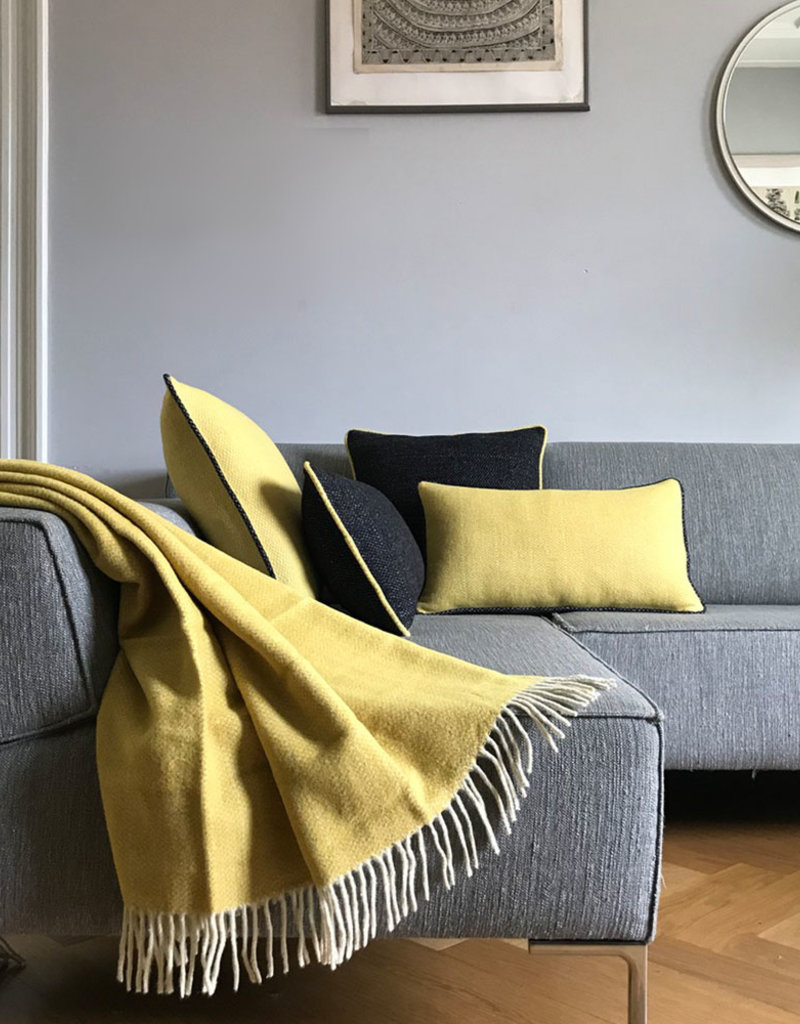 Birdy yellow structure recycled wool throw (NEW) (15 Dec)