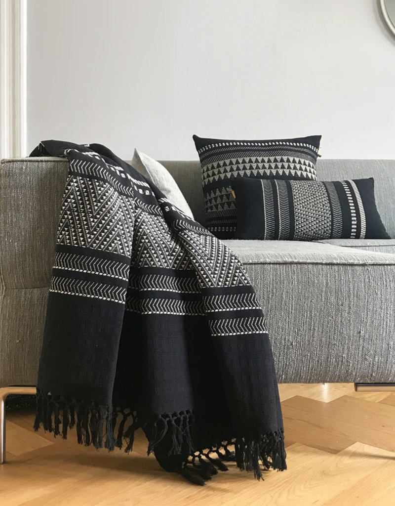 Native stripe cotton black cushion 35x65cm (NEW)