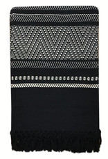 Native stripe cotton black throw 220x270cm (NEW)