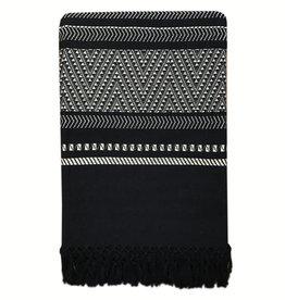 Native stripe cotton black throw 220x270cm (NEW) (15 Dec)