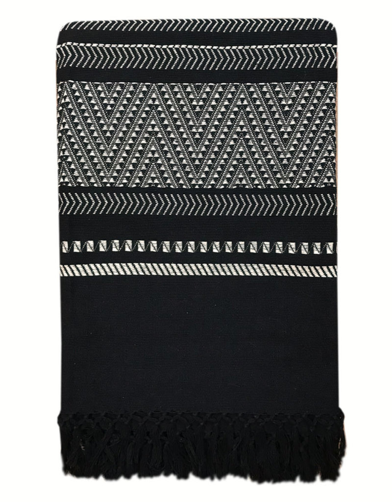 Native stripe cotton black throw 220x270cm (NEW) (15 Oct)