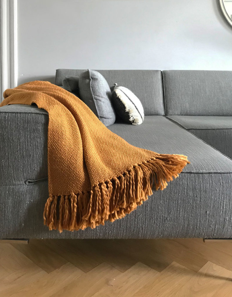 Inca yellow solid throw