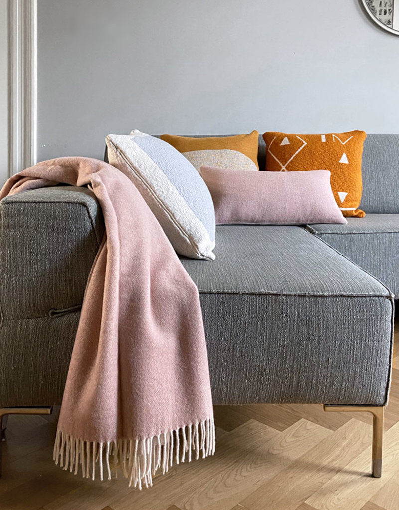 Misty pink double face recycled wool throw (NEW)