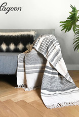 Native stripe cotton offwhite throw 240x270cm (NEW)