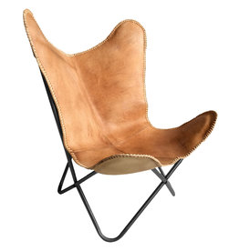 Leather butterfly chair natural brown black frame