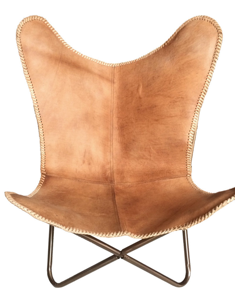 Leather butterfly chair natural brown
