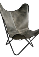 Leather butterfly chair vintage grey black frame