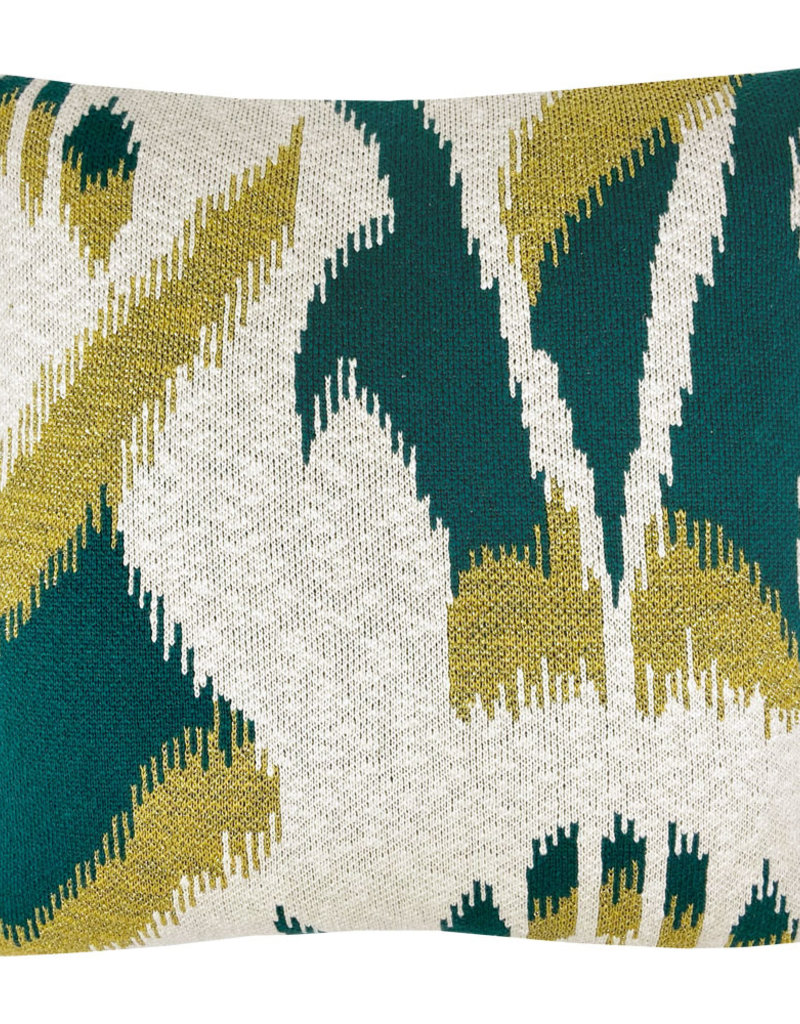 Ikat knitted cushion green (NEW) (Oct 10)